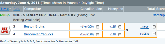 Canucks vs Bruins Betting Lines Game Two Cup Finals