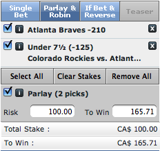 MLB Bonus Free Pick Parlay Braves v. Rockies