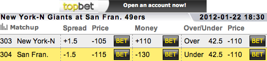 NFL 2011 Playoff Betting Lines Giants vs 49ers